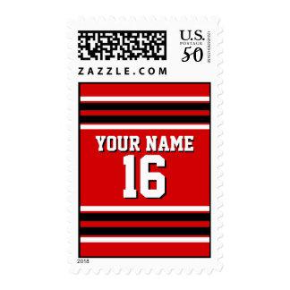 Red Black White Team Jersey Custom Number Name Postage