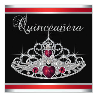 Red Black White Tiara Quinceanera Personalized Invitation