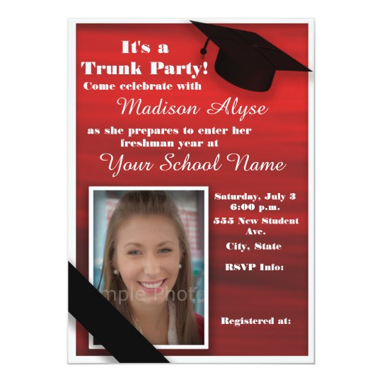 red black white trunk college party photo invitation zazzle com