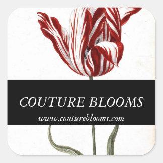 Red Black White Tulip Florist Square Stickers