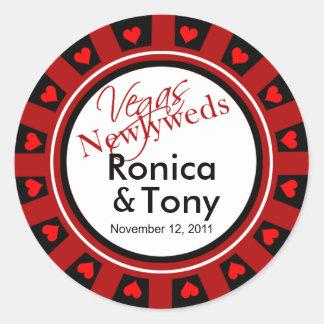 Red Black & White Vegas Newlyweds Casino Chip Round Sticker