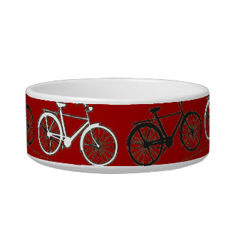 Red Black White Vintage Bicycles  Bikes Cycling Bowl