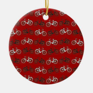 Red Black White Vintage Bicycles  Bikes Cycling Ceramic Ornament