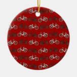 Red Black White Vintage Bicycles  Bikes Cycling Double-Sided Ceramic Round Christmas Ornament