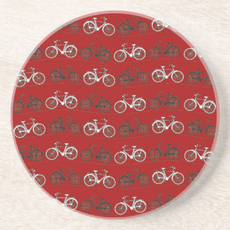 Red Black White Vintage Bicycles  Bikes Cycling Drink Coaster