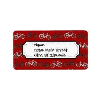 Red Black White Vintage Bicycles  Bikes Cycling Address Label