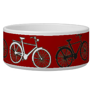 Red Black White Vintage Bicycles  Bikes Cycling Pet Food Bowl