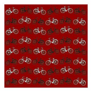 Red Black White Vintage Bicycles  Bikes Cycling Poster