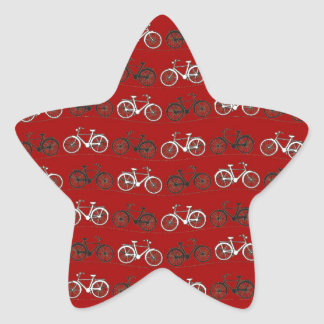 Red Black White Vintage Bicycles  Bikes Cycling Star Sticker