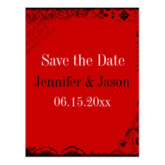 Red Black White Vintage Save the Date Postcards