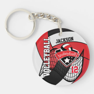 Red, Black & White Volleyball Design Keychain