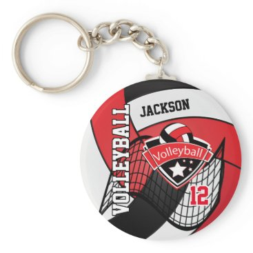 USA Themed Red, Black & White Volleyball Design Keychain