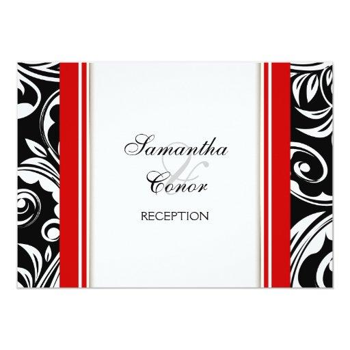 Red Black White Wedding Engagement Custom Invitations