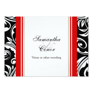 Red black white wedding engagement personalized invitation