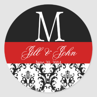 Red Black White Wedding Monogram Date Damask Seal Classic Round Sticker