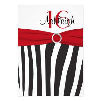 Red, Black, White Zebra 16th Birthday Invitation