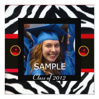 "RED BLACK WHITE ZEBRA FUR Monogram Photo Template 5.25"" Square Invitation Card"