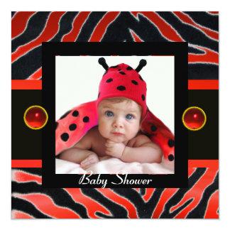 RED BLACK WHITE ZEBRA FUR Monogram Photo Template 5.25x5.25 Square Paper Invitation Card