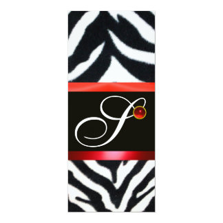 RED BLACK WHITE ZEBRA FUR MONOGRAM ,ruby Card