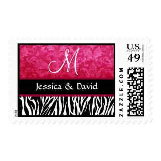 Red Black White Zebra Print Monogram Wedding Postage Stamp