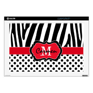 Red Black White Zebra Stripe Polka Dot Laptop Decals For Laptops