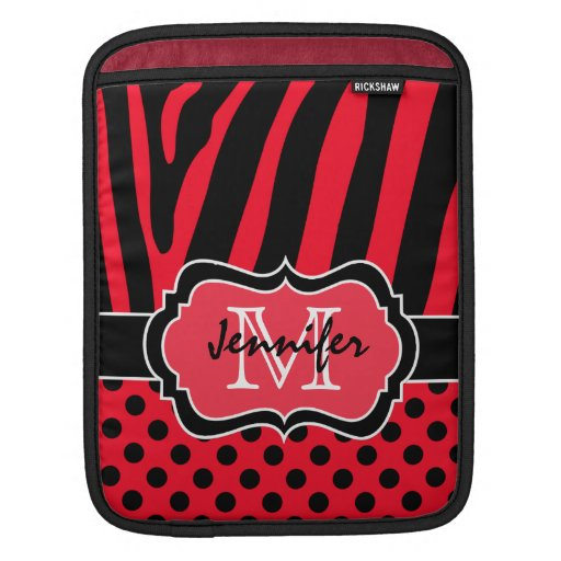 Red, Black, White Zebra Stripes and Polka Dots Sleeves For iPads