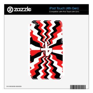 Red, Black, & White Zigzag Burst Printed iPod Touch 4G Skins