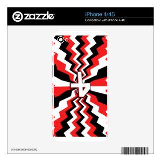 Red, Black, & White Zigzag Burst Printed Skin For iPhone 4
