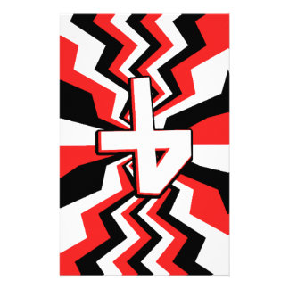 Red, Black, & White Zigzag Burst Printed Stationery