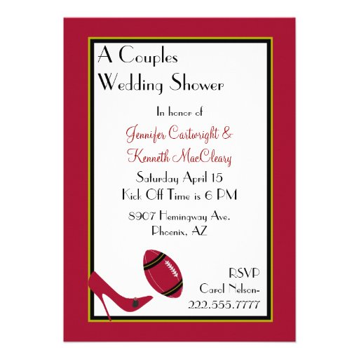 Red, Black & Yellow Football Couples Shower Personalized Invite