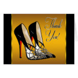 Red Black Yellow Gold High Heels Thank You Card