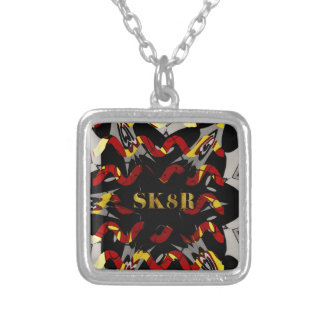 Red Black Yellow SK8R Enthusiasts Silver Plated Necklace