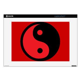 """Red Black Yin Yang 15"""" Laptop Decal"""