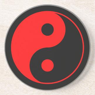 Red & Black Yin Yang Symbol Coaster