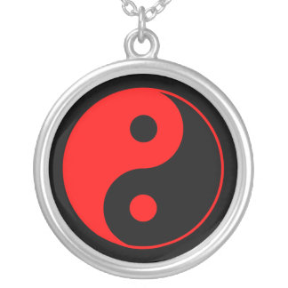 Red & Black Yin Yang Symbol Necklace