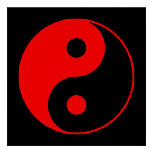 Red & Black Yin Yang Symbol Poster