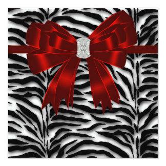 Red Black Zebra All Occasion 5.25x5.25 Square Paper Invitation Card