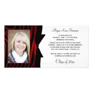 Red Black Zebra Print Photo Graduation Party Photo Card