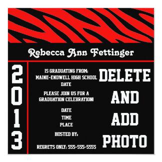 red black zebra stripes graduation invitations
