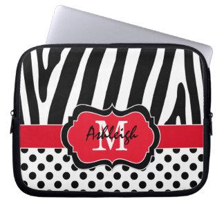 Red Black Zebra Stripes Polka Dots Laptop Case Laptop Sleeve