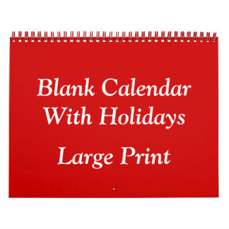 Red Blank Calendar With Holidays and Large Numbers
