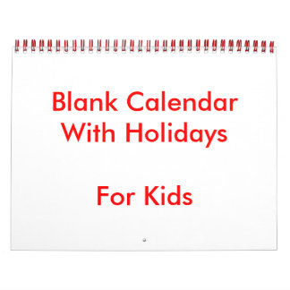 Red Blank Calendar With Holidays For Kids