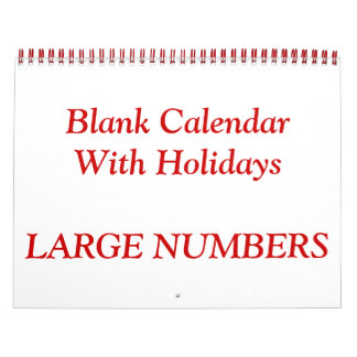 Red Blank Calendar With Large Numbers