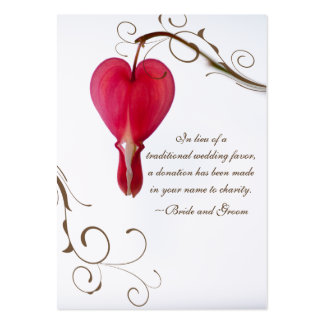 Red Bleeding Heart Charity Wedding Favor Card Large Business Card