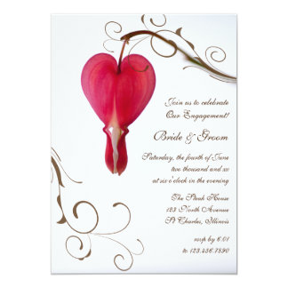 Red Bleeding Heart Engagement Party Invitation
