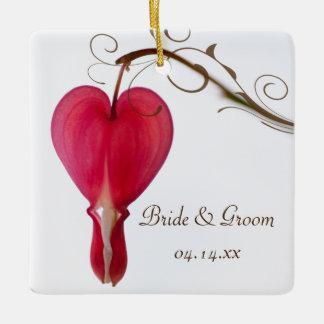 Red Bleeding Heart Flower Wedding Ceramic Ornament