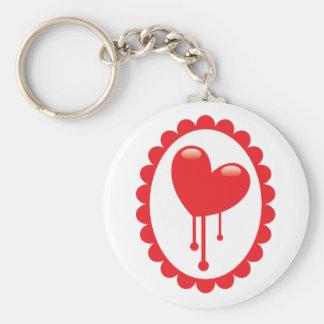 Red bleeding heart on a cameo keychain