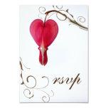 Red Bleeding Heart Wedding RSVP Response Card Custom Invites