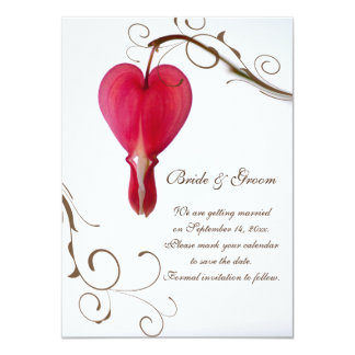 Red Bleeding Heart Wedding Save the Date Card