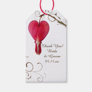 Red Bleeding Hearts Wedding Favor Tags